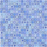 Mosaikfliese Glasmosaik Kombi Retro Biscuit blau Fliesenspiegel Bad MOS78-RB33_f