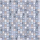 Mosaikfliese Glasmosaik Kombi Retro wood graublau dark dunkel Badezimmer Küche MOS78-W49_f
