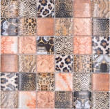 Mosaikfliese Glasmosaik Kombi Forest braun Badezimmer Küchenrückwand MOS78-W68_f