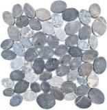 Mosaikfliese Naturstein Flusskiesel Steinkiesel geschnitten ash grau Fliesenspiegel MOS30-SANI_f