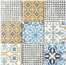Retro Vintage Mosaik Fliese Keramik creme blau orange grau matt MOS22B-1406_f | 10 Mosaikmatten