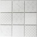 Retro Vintage Mosaik Fliese Keramik weiß Geo White MOS22B-1401