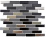 Verbundmosaik Keramik schwarz silber chrom Stäbchen Fliesenspiegel MOS26-0317_f | 10 Mosaikmatten