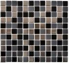 Mosaik Fliese Keramik schwarz silber MOS18-0317