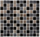 Mosaikfliese Keramik schwarz silber anthrazit chrome Küchenrückwand MOS18-0317