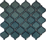 Retro Vintage Mosaik Fliese Keramik Florentiner blau gesprenkelt glänzend MOS13-0408_f | 10 Mosaikmatten