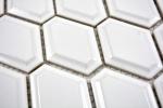 Handmuster Mosaik Fliese Keramik Diamant Metro weiß glänzend Fliesenspiegel Küche MOS13MD-0101_m