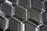 Mosaik Fliese Keramik Diamant Metro schwarz glänzend Fliesenspiegel Küche MOS13MD-0301_m