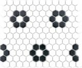 Mosaik Fliese Keramik Hexagon schwarz weiß matt Fliesenspiegel Küche MOS11A-0103