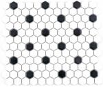 Mosaik Fliese Keramik Hexagon schwarz weiß matt Fliesenspiegel Küche MOS11A-0301_f | 10 Mosaikmatten