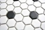 Mosaik Fliese Keramik Hexagon schwarz weiß matt Fliesenspiegel Küche MOS11A-0301_m