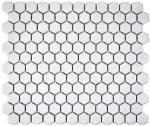 Mosaik Fliese Keramik Hexagon weiß glänzend Fliesenspiegel Küche MOS11A-0102