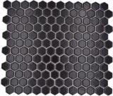 Mosaik Fliese Keramik Hexagon schwarz matt Duschrückwand Fliesenspiegel  MOS11A-0311