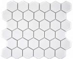 Mosaik Fliese Keramik Hexagon weiß glänzend Küchenrückwand Spritzschutz MOS11B-0102