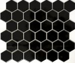 Mosaik Fliese Keramik Hexagon schwarz glänzend Duschrückwand Fliesenspiegel MOS11B-0302_f | 10 Mosaikmatten