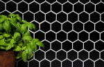 Mosaik Fliese Keramik Hexagon schwarz glänzend Duschrückwand Fliesenspiegel MOS11B-0302_m