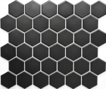 Mosaik Fliese Keramik Hexagon schwarz matt MOS11B-0311