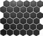 Mosaik Fliese Keramik Hexagon schwarz matt Duschrückwand Fliesenspiegel MOS11B-0311_f | 10 Mosaikmatten