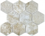 Mosaik Fliese Keramik grau Hexagon Zement MOS11F-0202