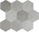 Mosaik Fliese Keramik grau Hexagon Zement MOS11F-0204