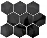 Mosaik Fliese Keramik Hexagon schwarz glänzend Küche Fliese WC Badfliese MOS11F-0301_f | 10 Mosaikmatten