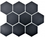 Mosaik Fliese Keramik Hexagon schwarz matt MOS11F-0311