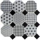 Mosaik Fliese Keramik Octagon MISTO weiß glänzend schwarz MOSOcta-0301