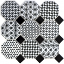 Mosaik Fliese Keramik Octagon MISTO weiß glänzend schwarz Mosaikwand Küchenrückwand MOSOcta-0301
