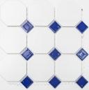 Mosaik Fliese Keramik Octagonal weiß matt kobaltblau glänzend Mosaikwand Küchenrückwand MOSOcta-180_f | 10 Mosaikmatten