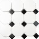 Mosaik Fliese Keramik Octagonal weiß matt schwarz glänzend MOSOcta-190