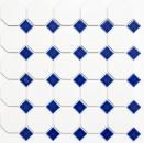 Mosaik Fliese Keramik blau Octagon weiß matt blau glänzend Wandfliesen Badfliese MOS13-OctaG464_f | 10 Mosaikmatten