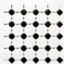 Mosaik Fliese Keramik Octagon weiß matt schwarz glänzend MOS13-OctaG468