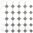 Mosaik Fliese Keramik metallgrau Octagon weiß matt metall glänzend MOS13-0122