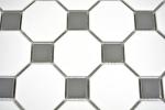 Mosaik Fliese Keramik metallgrau Octagon weiß matt metall glänzend MOS13-0122_m