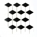 Mosaik Fliese Keramik 3D Würfel weiß schwarz glänzend MOS13-OV01