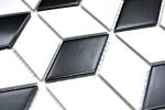 Mosaik Fliese Keramik 3D Würfel weiß schwarz matt Wandfliesen Badfliese MOS13-OV09_m