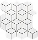 Mosaik Fliese Keramik weiß 3D Würfel weiß glänzend Wandfliesen Badfliese MOS13OV-0101