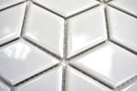 Mosaik Fliese Keramik weiß 3D Würfel weiß glänzend Wandfliesen Badfliese MOS13OV-0101_m