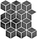 Mosaik Fliese Keramik schwarz 3D Würfel schwarz glänzend  Fliesenspiegel MOS13OV-0301_f | 10 Mosaikmatten