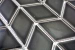 Mosaik Fliese Keramik weiß Diamant schwarz glänzend Welle Küchenrückwand Spritzschutz MOS13DS-0302_m