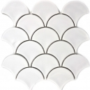 Mosaik Fliese Keramik Fächer weiß glänzend Fliese WC Badfliese MOS13-FS01