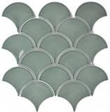 Mosaik Fliese Keramik Fächer petrol glänzend Fliese WC Badfliese MOS13-FS18