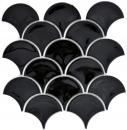 Mosaik Fliese Keramik Fächer schwarz glänzend Fliese WC Badfliese MOS13-FS03
