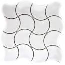 Mosaik Fliese Keramik Fächer weiß glänzend Welle Wandfliesen Badfliese MOS13-FSW01