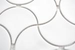 Mosaik Fliese Keramik Fächer weiß glänzend Welle Wandfliesen Badfliese MOS13-FSW01_m