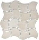 Mosaik Fliese Keramik grau Fächer steingrau glänzend Wandfliesen Badfliese Welle MOS13-FSW02