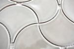 Mosaik Fliese Keramik grau Fächer steingrau glänzend Wandfliesen Badfliese Welle MOS13-FSW02_m