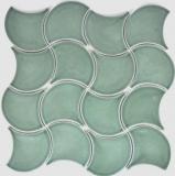 Mosaik Fliese Keramik Fächer petrol glänzend Welle Wandfliesen Badfliese MOS13-FSW18