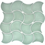 Mosaik Fliese Keramik Fächer petrol glänzend Welle MOS13-FSW18