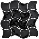 Mosaik Fliese Keramik  Fächer schwarz glänzend Welle Wandfliesen Badfliese MOS13-FSW03